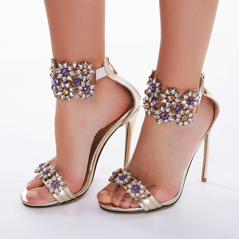 Summer Rhinestone Leather Open Toe High Heel Sandals