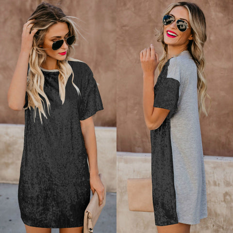 Sequin Splice Sweatshirt Short Dress