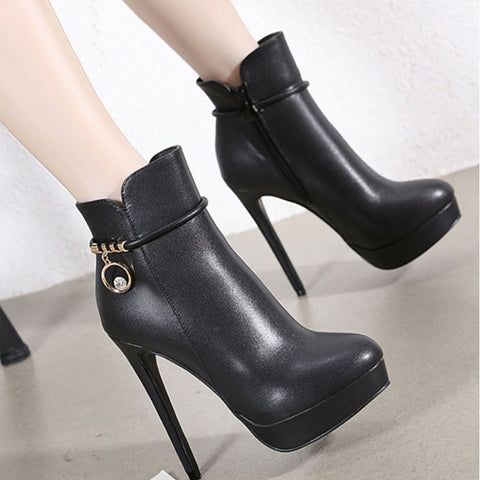 Black PU Platform Zipper High Heel Ankle Boots