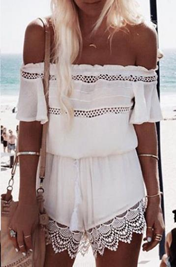 Off-shoulder Lace Patchwork Hollow Out Jumpsuit - Bags in Cart - 1
