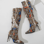 Snakeskin PU Point Toe Zipper High Heel Knee High Boots