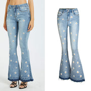 Flare Blue High Waist Embroidery Denim Pants