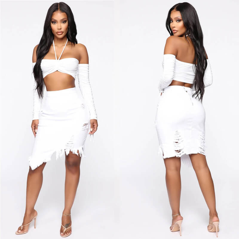 Sexy High Waist Ripped Bodycon Irregular Knee Length Dress