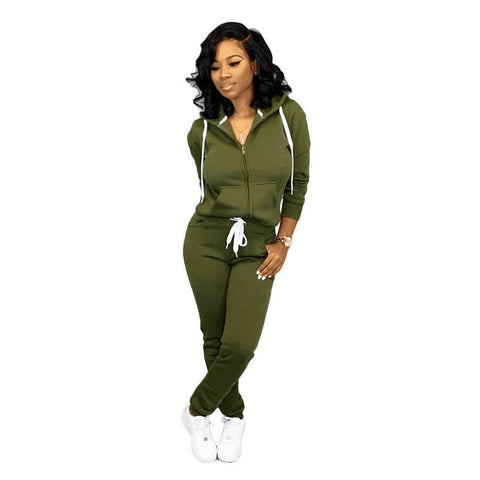 Hoodie Blouse High Waist Pencil Pants Set