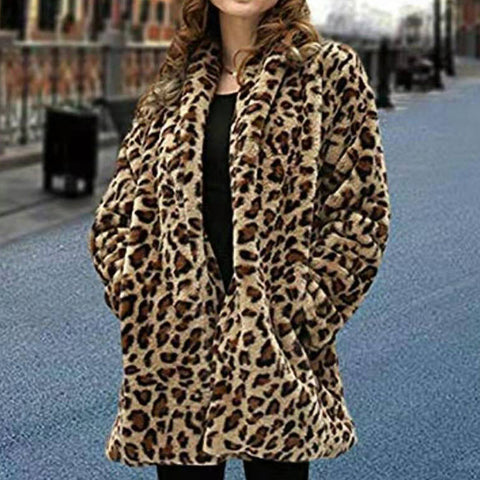 Lapel Faux Fur Leopard Coat