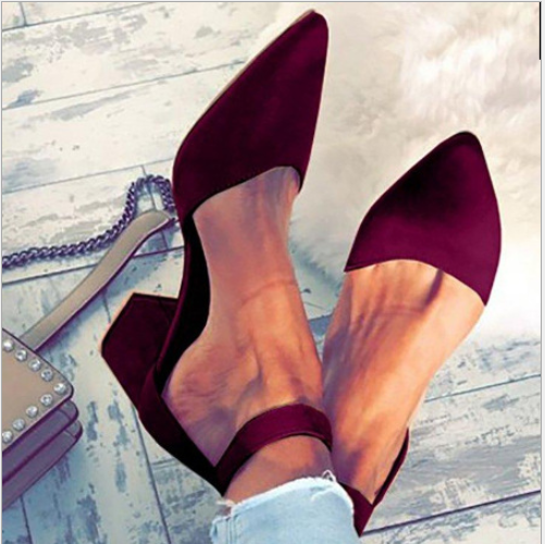 Chunky Low Heel Point Toe Straps Pumps