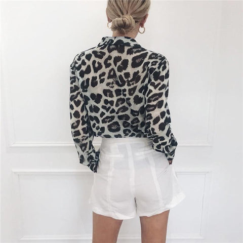 Vintage Blouse Long Sleeve Leopard Print Blouse Turn Down Collar Office Shirt Tunic Casual Loose Tops