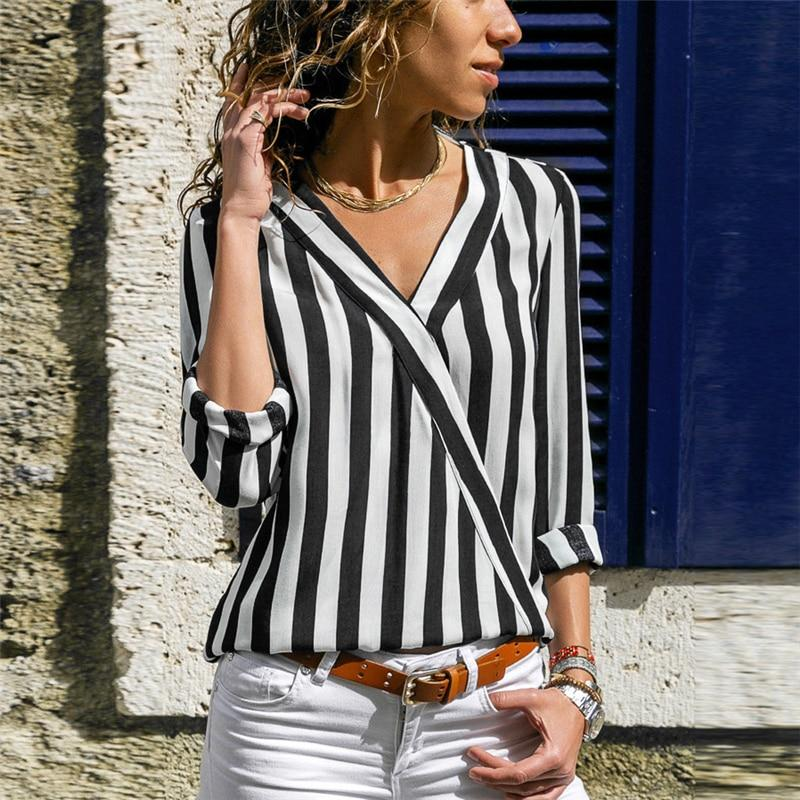 Women Striped Blouse Shirt Long Sleeve V-neck Shirts Casual Tops Blouse