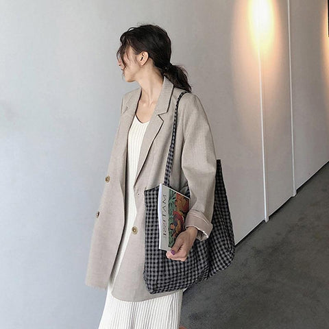 Chic Casual Double Breasted Women Blazer Jackets Notched Collar Female Outerwear Elegant Ladies Coat