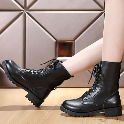 Black Motorcycle Leather Strap Round Toe Chunky Heel Ankle Boots