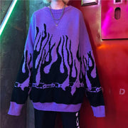 Autumn Winter Harajuku Flame Knitting Batwing Sleeve Sweater Casual Long Women Tide Printed Sweater Loose Boyfriend Pullovers