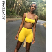 Sexy Short Two Piece Set Crop Tops and Biker Shorts Grey Black Bodycon Matching Sets Summer Clothes