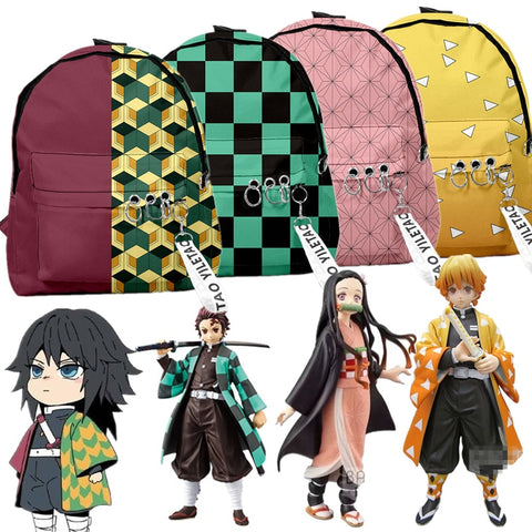 Backpack Demon Slayer: Kimetsu no Yaiba Canvas Bag Tomioka Giyuu School Bags For Boys Girls Travel Bag Mochila Feminina