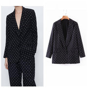 Casual Women Vintage Dots Print  Black Blazer Female Long Sleeve Elegant Jacket Ladies Casual Blazer