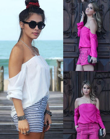 Off Shoulder Loose Long Sleeves Chiffon Blouse Top - Bags in Cart - 4