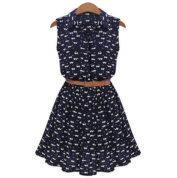 Floral A-line Print Lapel Collar Sundress with Belt Dress - Shoes-Party - 1