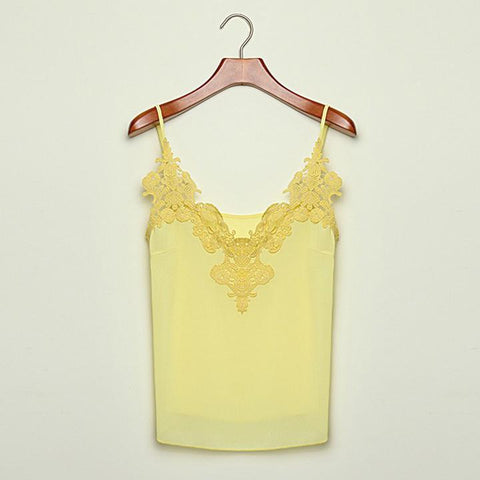 Lace Splicing Chiffon Strap Blouse - Bags in Cart - 4