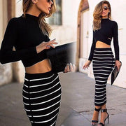 Long Sleeves Crop Top Striped Stretch Skirt Dress Set - Shoes-Party - 1