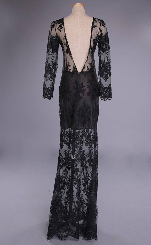 Backless Long Sleeve Long Lace Dress - MeetYoursFashion - 4
