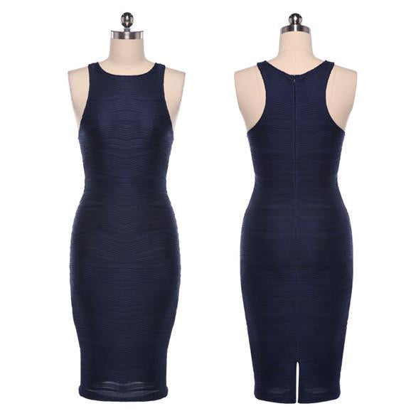 O-neck Over-the-knee Bodycon Tank Dress - MeetYoursFashion - 6