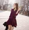 Lapel Plaid V-neck Long Sleeves with Belt Short Dress - MeetYoursFashion - 3