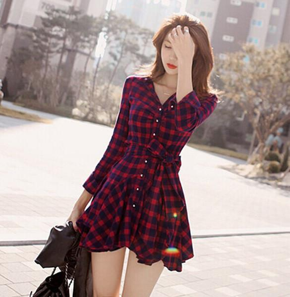 Lapel Plaid V-neck Long Sleeves with Belt Short Dress - MeetYoursFashion - 4