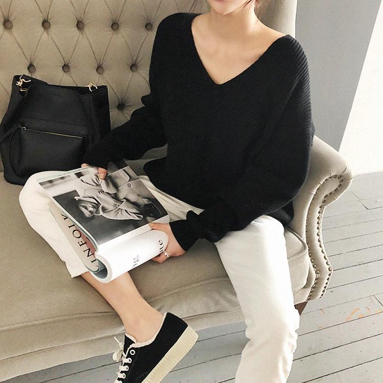 Autumn Winter Women's Sweaters V-Neck Minimalist Tops Fashionable Irregular Hem Knitting