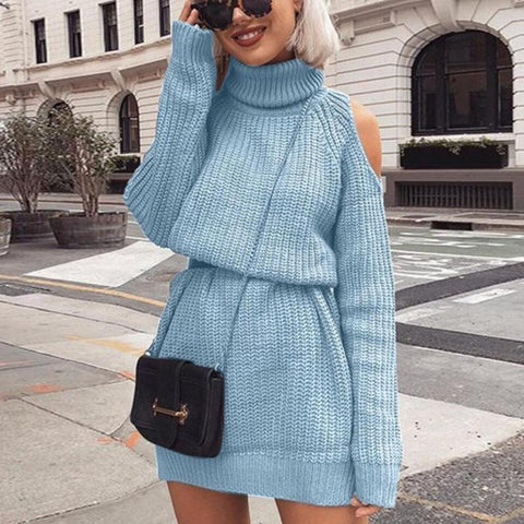 Autumn Winter Turtleneck Off Shoulder Knitted Sweater Dress Women Solid Slim Plus Size Long Pullovers Knitting Jumper