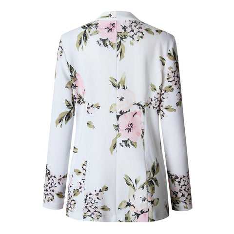 Elegant Blazer Women Floral Long Sleeve Blazer Notched Collar Coat Female Outerwear