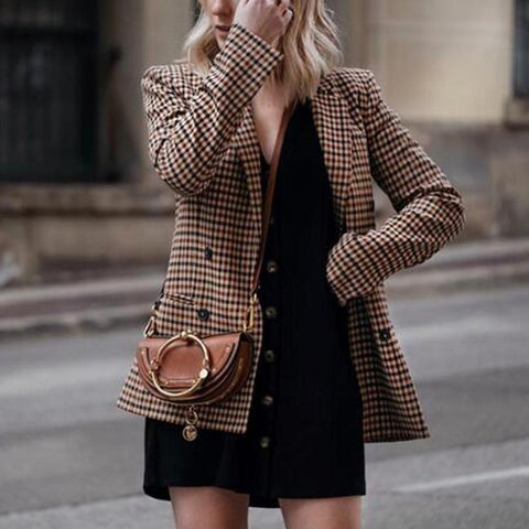 Women Plaid Blazers and Jackets Work Office Lady Suit Slim Double Breasted Business Female Blazer Coat