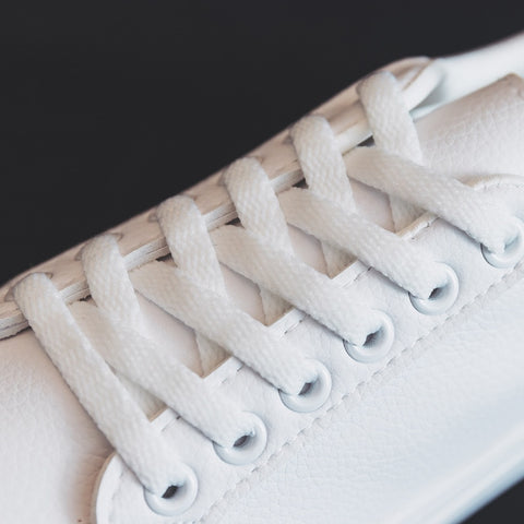 White Lace Up Platform Leather Flat Sneakers