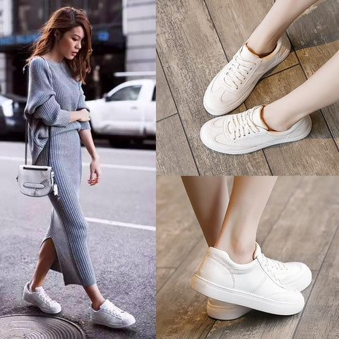 White Lace Up Platform Leather Chunky Sneakers