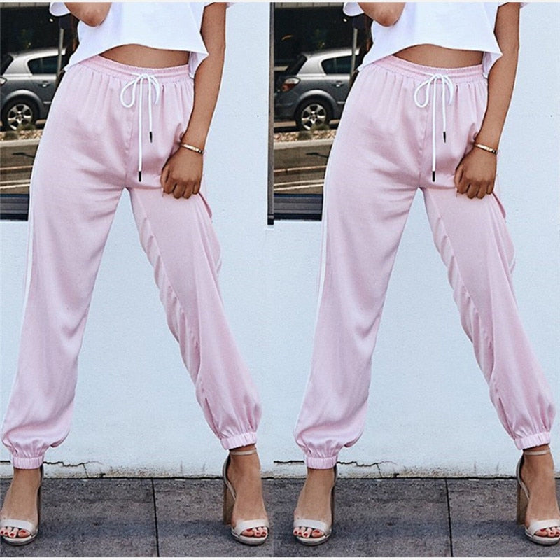 Stripes High Waist Sashes Loose Pants