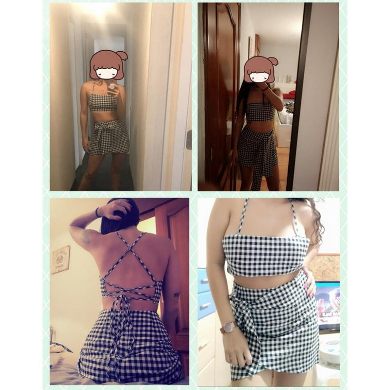 Fashion Women Checkerboard 2 Piece Set Bodycon Skirt Crop Top Off Shoulder Tank Summer Two Piece Set Bandge Gingham Mini Skirt