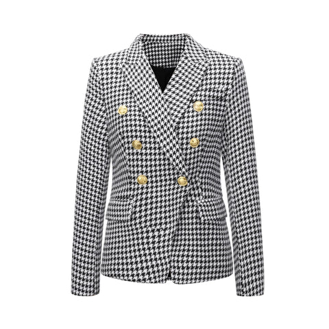 Women Double Breasted Jacket Female Ladies Long Sleeve Elegant Blazer
