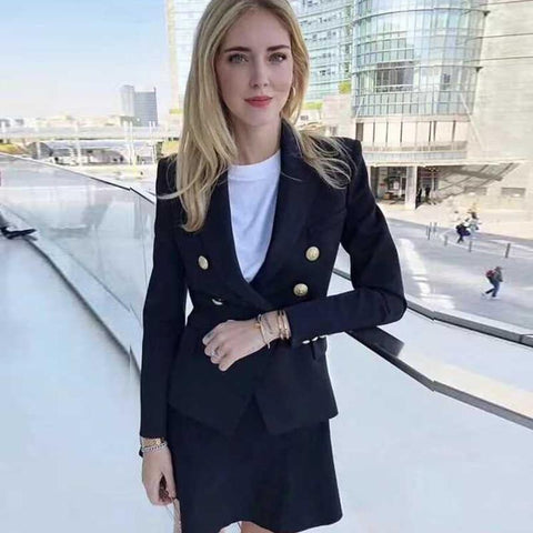 Women Office Formal Double Breasted Buttons Blazer Plus Big Size Women Blazer