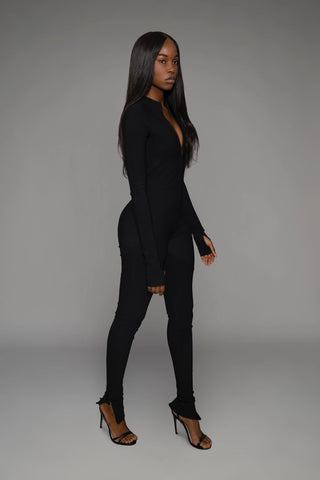 Sexy Plain Long Sleeves Skinny Bodycon Jumpsutis