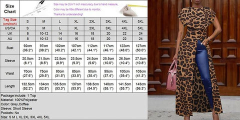 Leopard Blouse Women Summer Tops Vintage Long Shirts Office Holiday Split Hem Party Tops