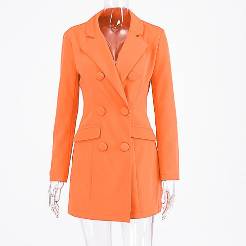 Double Breasted Blazer Long Sleeve Slim Elegant Coat Jacket Women Autumn Winter Lengthen Windbreak