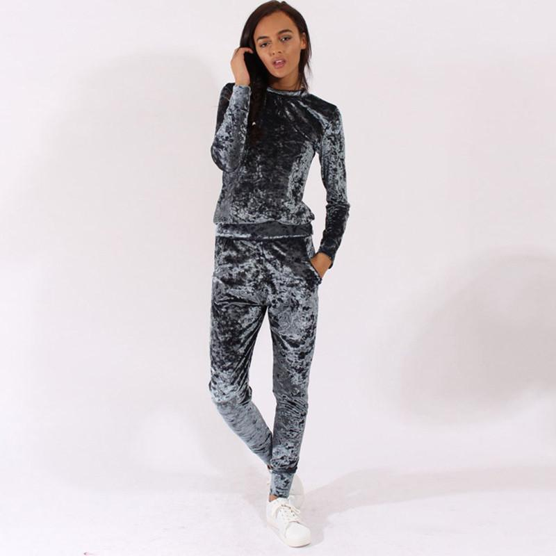 Women Tracksuit Velvet Hoodies + Pants 2 PCS Comprehensive Training Set Traning Exercise Gym Women Sports Suits