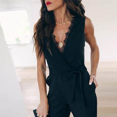 Black Lace Sleeveless Bandage Bodycon Skinny Jumpsuits