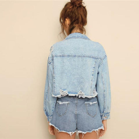 Blue Ripped Frayed Edge Flakes Crop Denim Jeans Jacket Women Spring Autumn Single Breasted Casual Outwear Coat Jackets