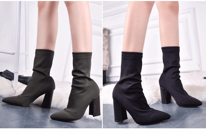Elastic Pointed Toe Chunky Heel Calf Boots