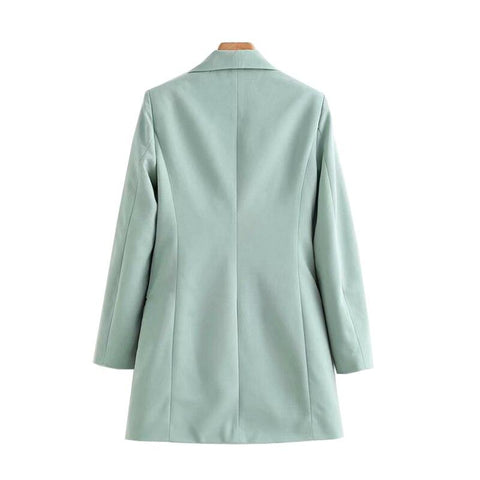 Women Fashion Office Wear Double Breasted Blazers Coat Vintage Long Sleeve Loose Fitting Female Outerwear Chic Tops