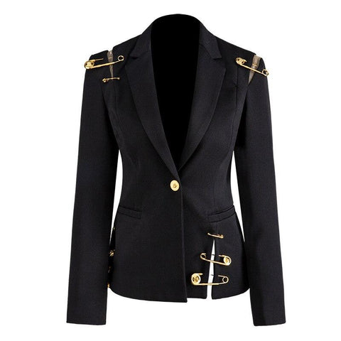 Street Stylish Women Blazer Single Button Mesh Patchwork Pin Slim Quality Black Blazer