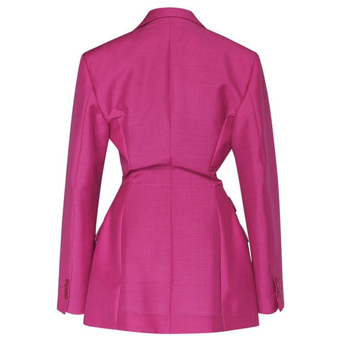 Streetwear High Waisted Long Sleeve Black Pink Blazer Coat Women Autumn Female Fashion Clothing