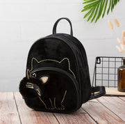 Fashion Animal Cat Design Daily Outdoor Small Suede Fabric Ladies Bag Cute Lovely Teen Girl Backpack