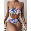 Beach Hot Print Mid Rise Thong Bottom Bikinis