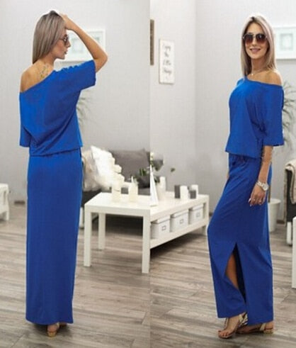 Boho Maxi Dress Sexy Summer Short Sleeve Side Slit Loose Party Long Beach Dress With Pocket