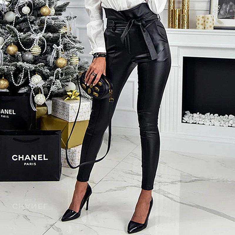 Sexy Leather High Sknny Bodycon Sashes Pants